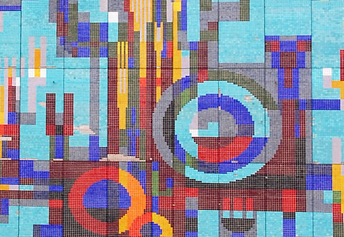 Detail, tile/mosaic mural, Zerbst/Anhalt, June 2014