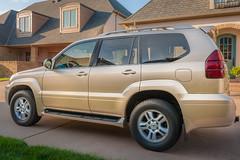 toyota(0.0), automobile(1.0), automotive exterior(1.0), sport utility vehicle(1.0), wheel(1.0), vehicle(1.0), lexus gx(1.0), compact sport utility vehicle(1.0), lexus(1.0), bumper(1.0), toyota land cruiser(1.0), land vehicle(1.0),