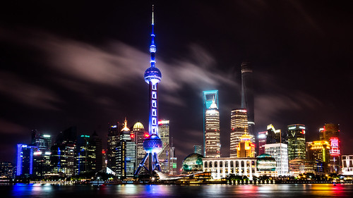 Shanghai in a cloudy night