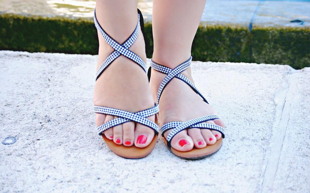 JustFab black Zenana rhinestone sandals