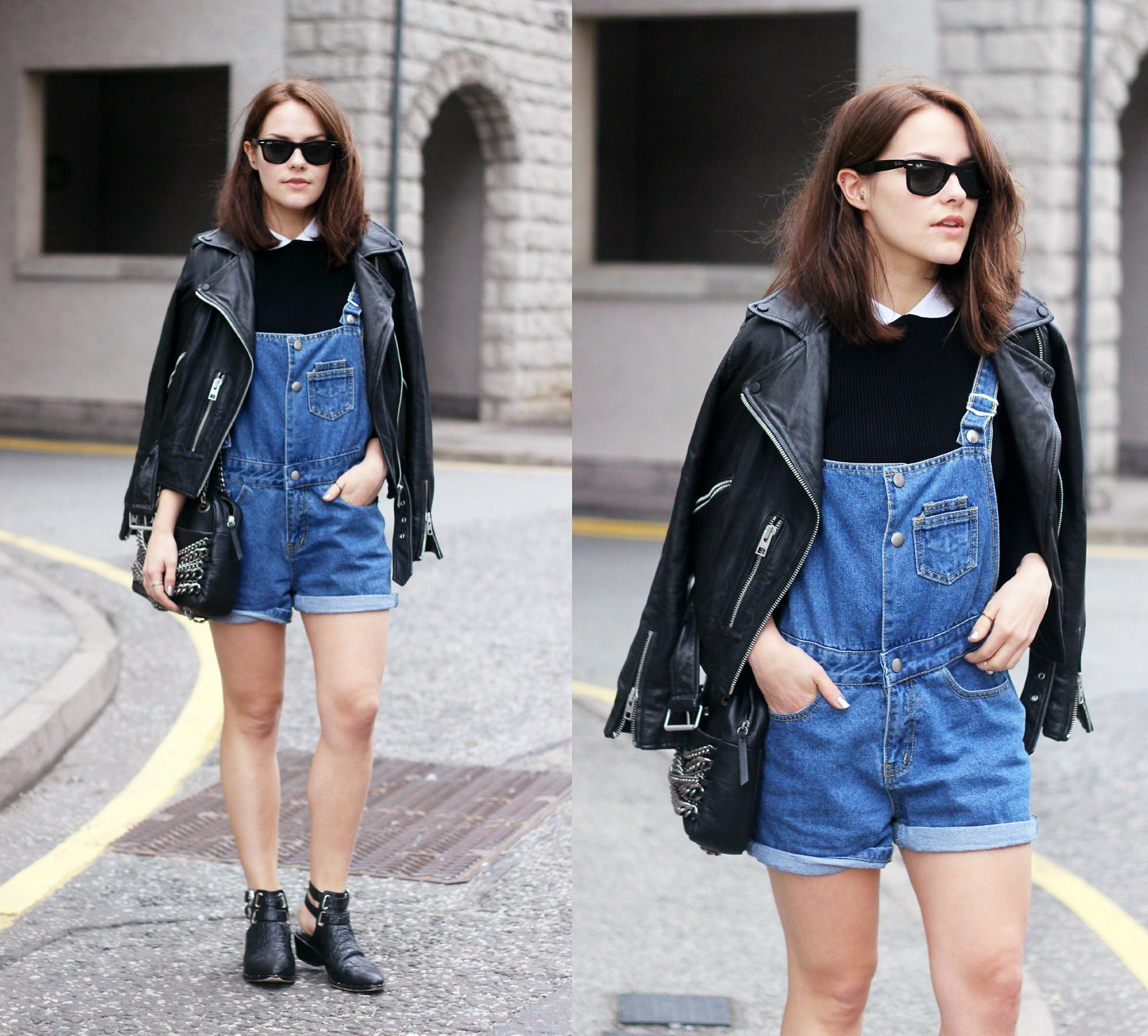 Vintage blue shorts dungarees 7