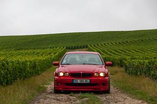 Ma Jaguar X-Type dans les vignes près de Vavray
