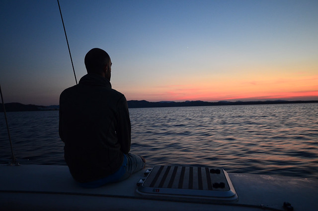 Alucinando con los colores del cielo de Menorca desde el catamarán al atardecer