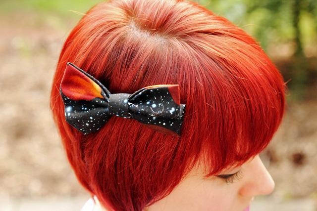 Galaxy Print Hair Bow on Red Hair