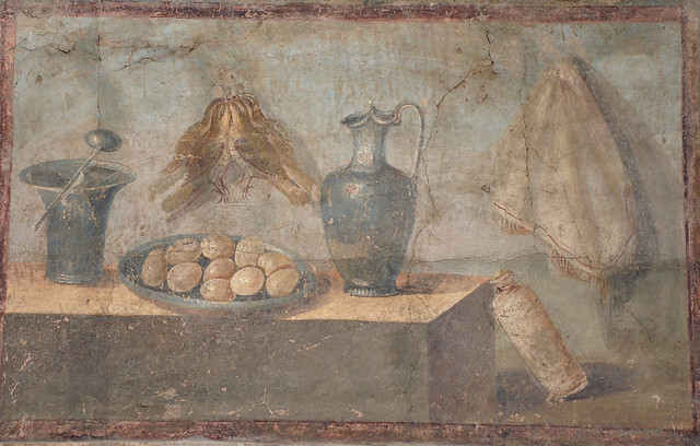 Still life fresco in the Fourth Pompeian Style with eggs, birds and bronze dishes, from the Praedia of Julia Felix in Pompeii, Naples National Archaeological Museum