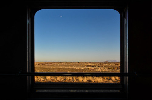 Through the window, Windhoek-Keetmanshoop train, Namibia