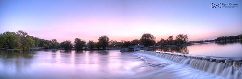 longexposure pink panorama water canon illinois dam hdr highdynamicrange chicagoland mchenry ryancastrephotography ryancastre