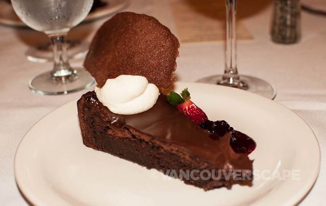 Dark chocolate torte, blackberry compote