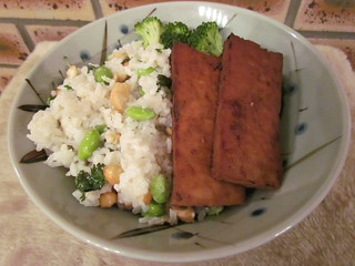 Coconut Jasmine Rice and Edamame; Teriyaki Marinated Tofu