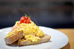 meal, breakfast, brunch, bruschetta, food, dish, scrambled eggs, cuisine,