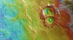 Craters within the Hellas Basin topography