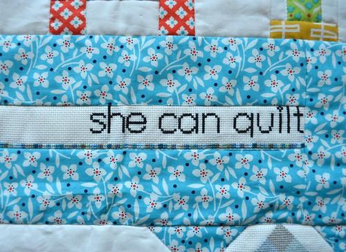 Cindy cross stitched my blog header onto the mini!