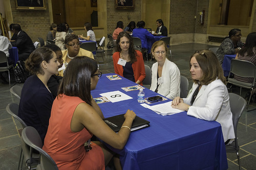 Sonja Jimenez, Director of Promotion and Economics Division, Agricultural Marketing Service offers advice and support during a Flash Mentoring event at the observance of Women's Equality Day at the United States Department of Agriculture (USDA) in Washington, DC, Tuesday, August 26, 2014. USDA Photo by Bob Nichols.