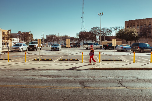 winter woman sanantonio parkinglot texas unitedstates pavement streetphotography elderly streetview yellowandred 2014 streetphotographer jesseacosta x100s