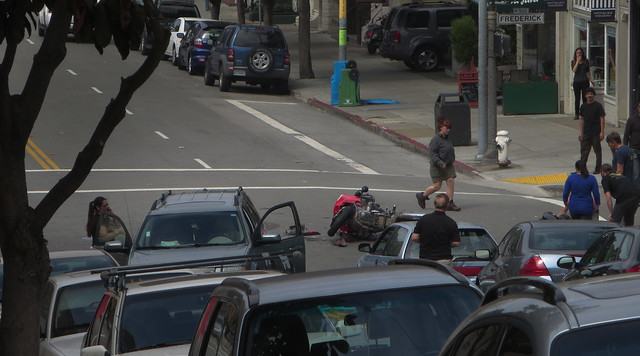 motorcycle accident at Frederick and Stanyan; The Haight, San Francisco (2014)