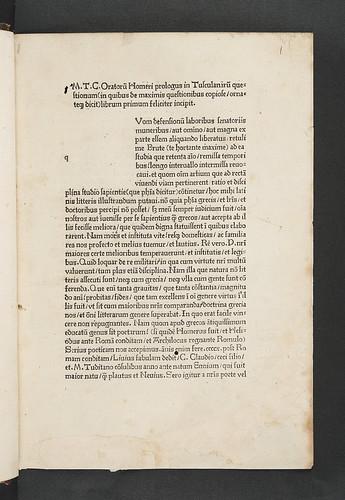 Title incipit of  Cicero, Marcus Tullius: Tusculanae disputationes