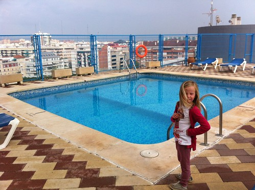 Nora at hotel pool