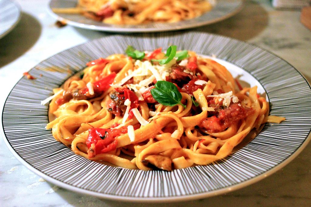 making pasta.