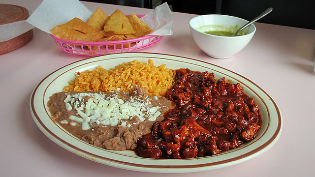 Puerco Guisado con Chile Rojo at Flamingo Mexican Restaurant in Des Moines, Iowa
