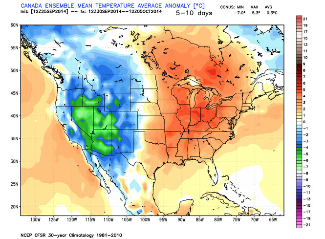CMC temperature forecast USA