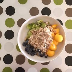 Greek yogurt, muesli, kiwi, mango and blueberries. #healthyeats #saturday