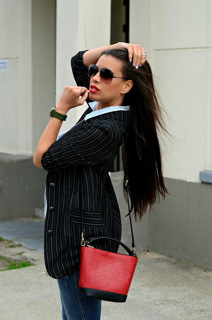 DSC_8124 Denim On Denim, Zara Bag, Pin Striped Blazer,Tamara Chloé(2)