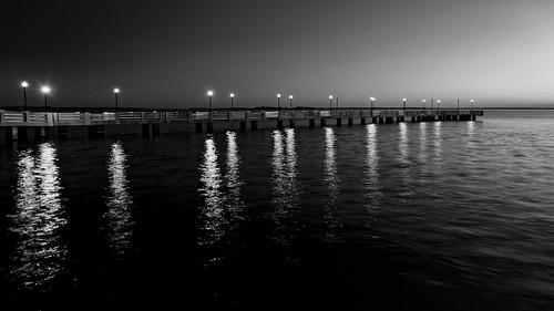 usa landscape calm pier dawn ©edrosack lowlight florida clear bw dock highres bluehour river reflection seascape lights sky centralflorida sign merrittislandnationalwildliferefuge water titusville blackandwhite minwr monochrome