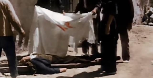 Fusilado por las milicias republicanas. Captura de un vídeo real a color de la Guerra Civil en Toledo en el verano de 1936