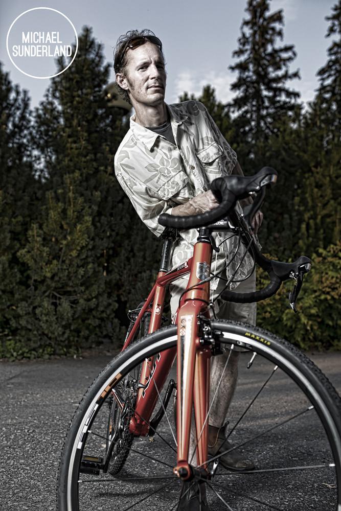 Michael Sunderland and his Kona Bicycle