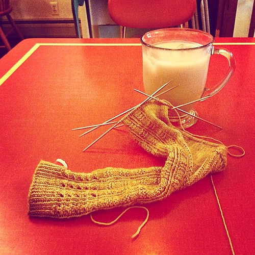 Sock and iced chai #cafeknitting #bluepeninsula #brattleboro