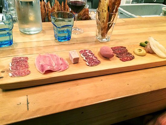 charcuterie plate at Le Comptoir