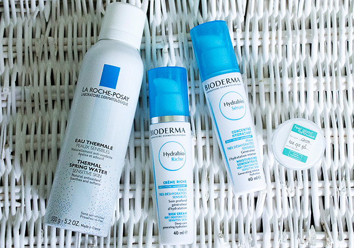 La Roche-Posay Thermal Spring Water, Bioderma Hydrabio Rich Moisturising Cream, Bioderma Hydrabio Serum Moisturising Concentrate and Arran Aromatics Green Tea Eye Cooler Gel
