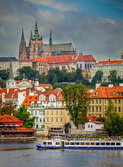 Prague Castle with River Boat - Prague, Czech Republic