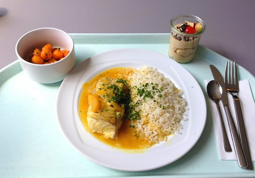 Seelachsfilet im Pfirsich-Ingwer-Sud / Coalfish filet in peach ginger brew