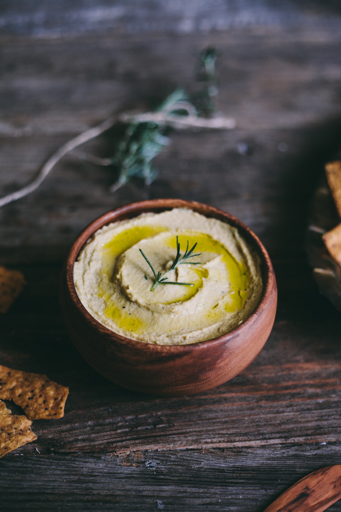 Garlic Rosemary Hummus | Adventures in Cooking