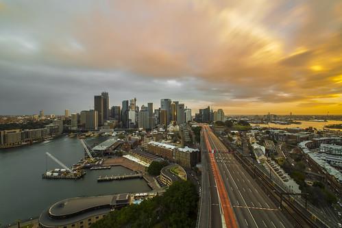 city sunset landscape cityscape sydney harbourbridge sydneyharbour goldenhour