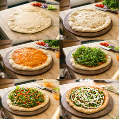 Assembly of Buffalo Chickpea Ranch Pizza