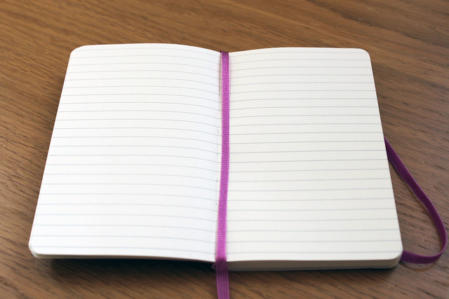 Moleskine soft cover pocket notebook (orchid purple) open