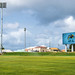 Outdoor sports lights and Jumbo-tron at the Warner Park Cricket Stadium