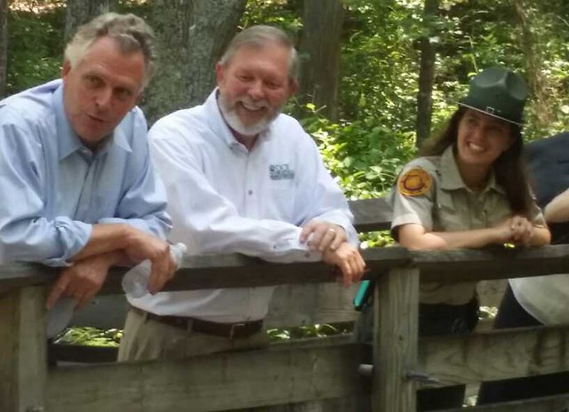 Governor McAuliffe hiked parts of the popular Bald Cypress Trail
