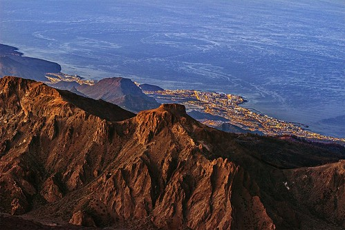 city sunset night sunrise islands spain shoreline ridge caldera tenerife below canary teide mountins