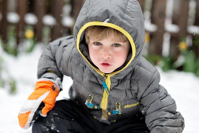 Child portrait in the snow