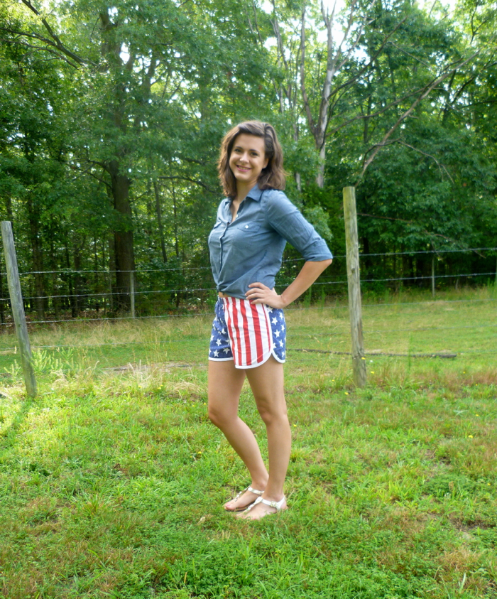 Patriotic American Flag Prefontaine Shorts - side by Hey, It's SJ