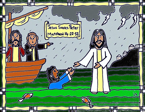Jesus Walks on Water coloring page and Bible card  Stushie Art