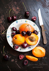 Fresh apricots and cherry
