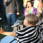 Celebrating Mavis Staples' 75th birthday to close out the festival, with special guests Lucius, Jeff Tweedy, Taylor Goldsmith and Norah jones. 7/26/14. Photo by Laura Fedele
