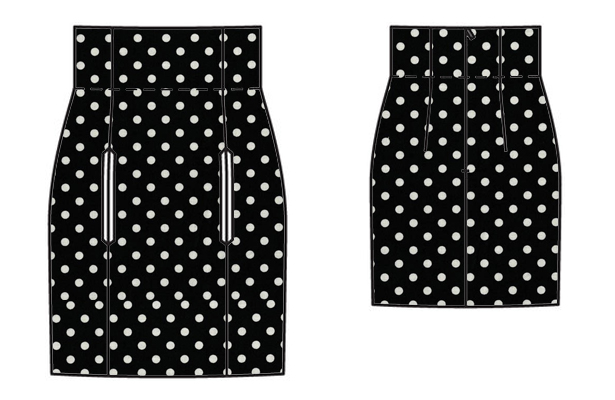high waisted mini skirt mock up 1