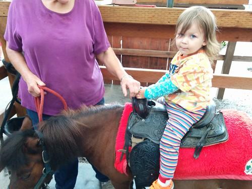 Davis rides a pony