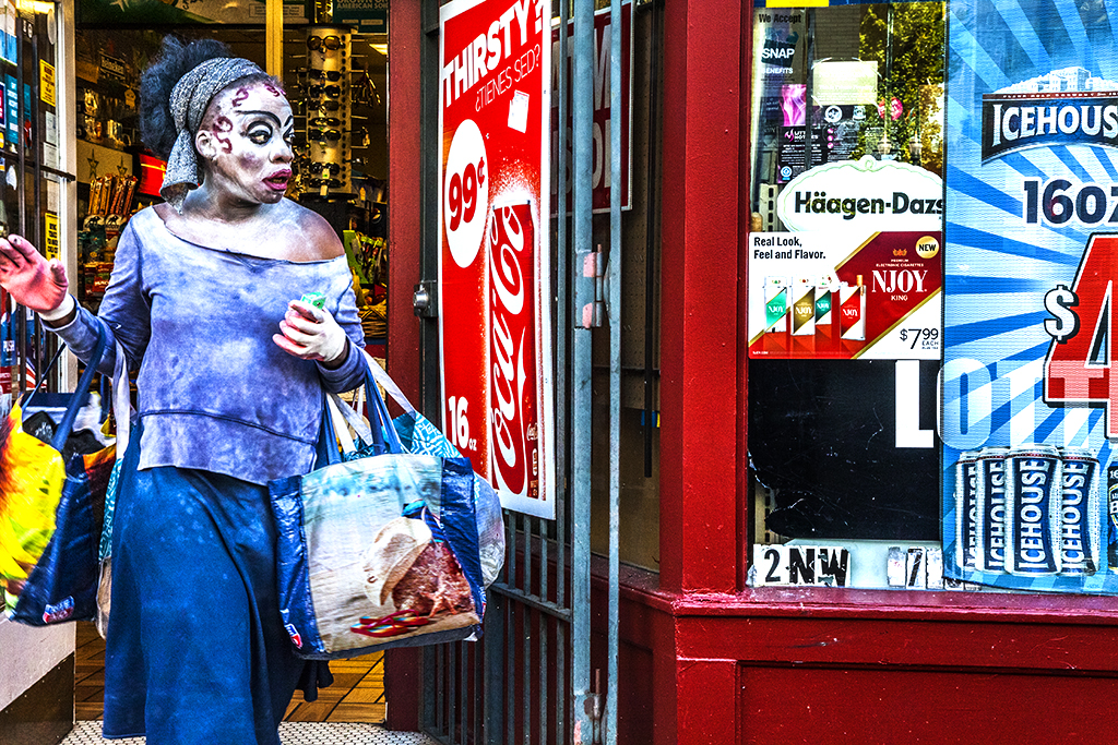 Woman-with-unusual-makeup-leaving-store-on-6-30-14--Portland