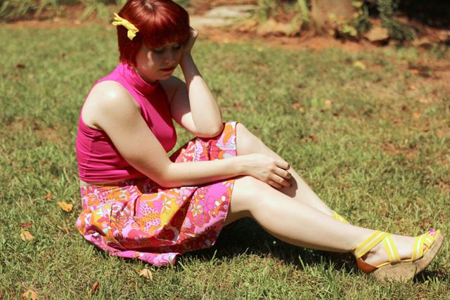 Sleeveless Mock Turtleneck Top, Sea Print Skirt, and Yellow Wedges